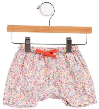 Emile et Ida Girls' Floral Print Elasticized Waist Shorts