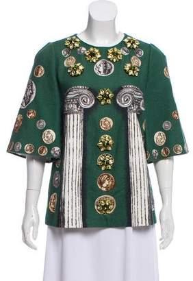 Dolce & Gabbana Coin Print Embellished Top