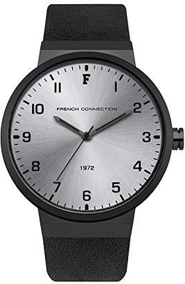 French Connection Men's Quartz Metal and Leather Casual Watch, Color:Black (Model: FC1286BB)