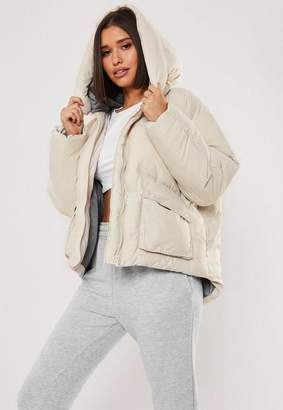 Missguided Tall Nude Oversized Hooded Ultimate Puffer Jacket