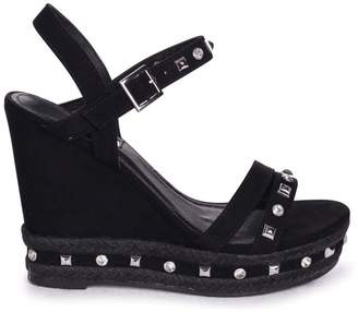 1311a715c Linzi CARMEN - Black Suede Wedge With Mixed Studded Diamante Detail With  Rope Trim