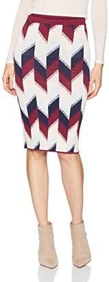 BCBGMAXAZRIA Women's Leger Colorblock Print Knit Pencil Skirt