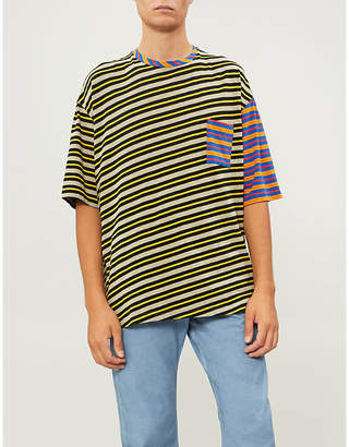 Marni Contrast-stripe cotton-blend T-shirt