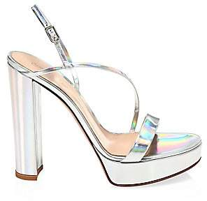 Gianvito Rossi Women's Kimberly Platform Mirrored Leather Slingback sandals