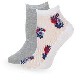 Juicy Couture Two-Pack Floral and Heathered Ankle Socks