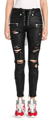 Taverniti So Ben Unravel Project Distressed Leather Lace-Up Skinny Jeans