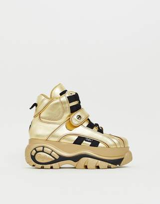 Buffalo David Bitton Classic hi top chunky sole sneakers in gold