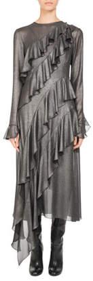 Pascal Millet Metallic Ruffle-Trim Midi Dress, Silver