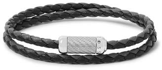 Tateossian Montecarlo Woven Leather And Sterling Silver Bracelet