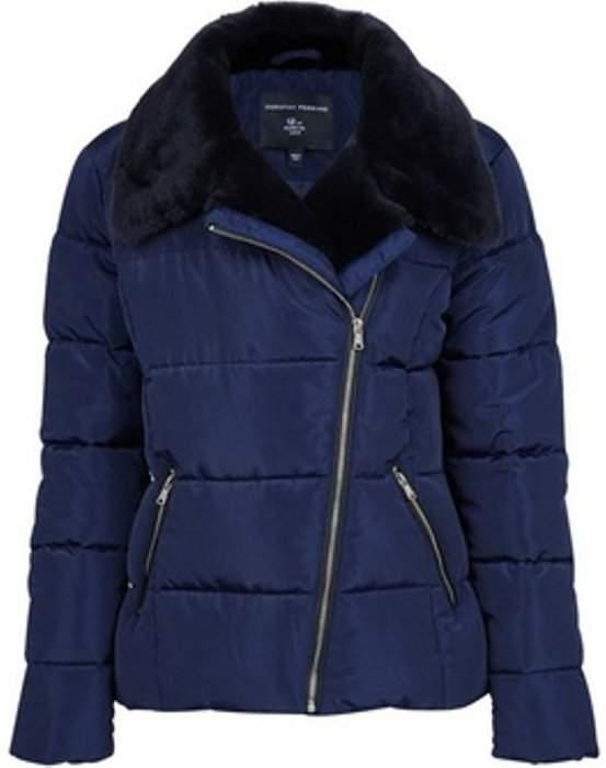 Womens Navy Asymmetric Faux Fur Collar Padded Jacket
