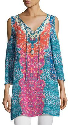 Tolani Robyn Printed Cold-Shoulder Top, Plus Size $215 thestylecure.com