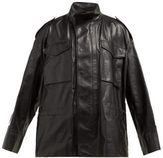 Off-White Off White Logo Print Leather Jacket - Womens - Black White