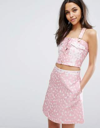 House of Holland Heart Jacquard Crop Top
