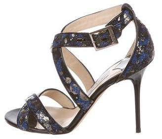 Jimmy Choo Lace-Accented Crossover Sandals