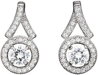 Crislu Platinum Over Silver Micro Pave Round Cz Earrings