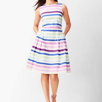 Talbots Sateen Stripe Fit & Flare Dress