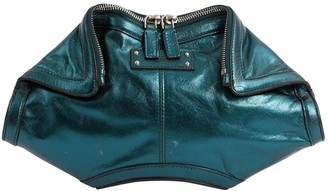 Alexander McQueen Manta Green Leather Clutch Bag