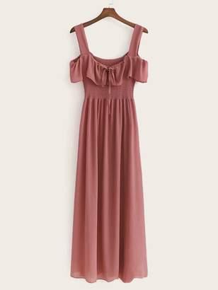 Shein Ruffle Trim Knot Shirred Linen Slip Dress