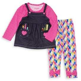 Nannette Little Girl's Two-Piece Crayon Top and Leggings Set