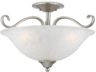 Quoizel Duchess Antique Nickel Finish Semi-Flush Mount 3-Light with Grey Marble Glass Shade