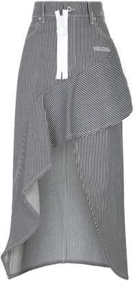 Off White Denim Stripe Ruffle Skirt