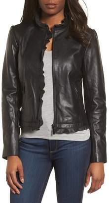 Halogen Ruffle Trim Leather Jacket