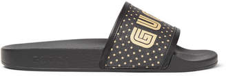 Gucci Leather-Trimmed Logo-Print Rubber Slides - Men - Black