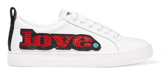 Marc Jacobs Empire Appliquéd Leather And Grosgrain Sneakers - White