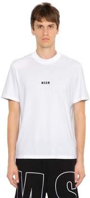 MSGM Logo Detail Print Cotton Jersey T-Shirt
