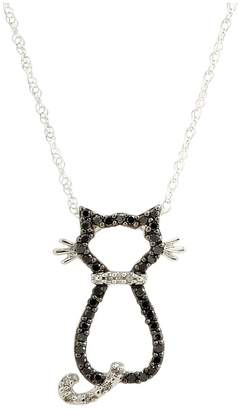 Fine Jewellery 10K White Gold Black And White Diamond Cat Necklace