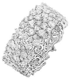 Crislu Sterling Silver and Crystal Band Ring