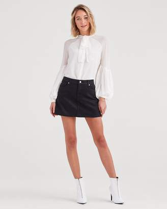 7 For All Mankind Mini Skirt in Black Coated