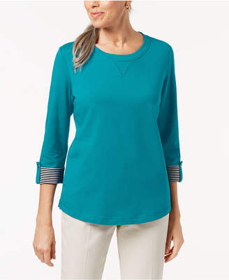 Karen Scott 3/4-Sleeve French Terry Sweatshirt, Created for Macy's