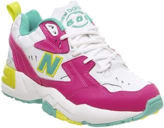 New Balance 608 Trainers White Fuschia Pink Lime Green