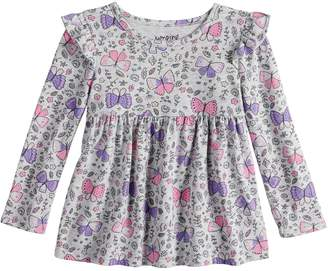 Baby Girl Jumping Beans Long Sleeve Flutter Sleeve Printed Babydoll Top