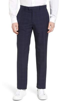 Theory Marlo Flat Front Plaid Wool Trousers