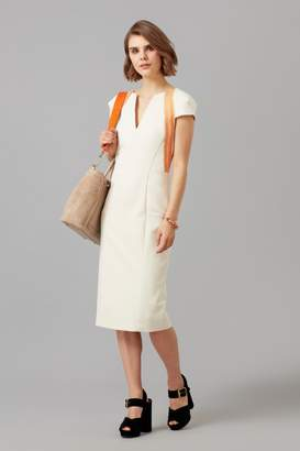 Amanda Wakeley Cream Sculpted Fitted Dress