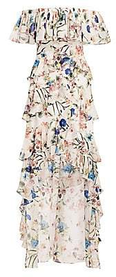 Badgley Mischka Women's Off-The-Shoulder Palladian Floral Ruffle Gown