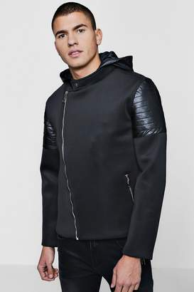 boohoo Biker Panel Scuba Hooded Jacket