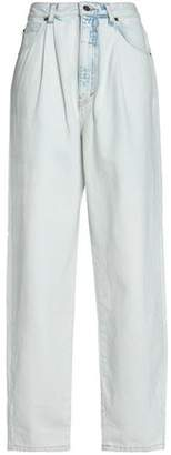 Marc Jacobs Bleached Pleated High-Rise Wide-Leg Jeans