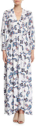 Rachel Pally Greenwich Long-Sleeve Paisley Wrap Maxi Dress, Plus Size