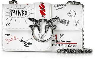 Pinko White Mini Love Graffiti Shoulder Bag