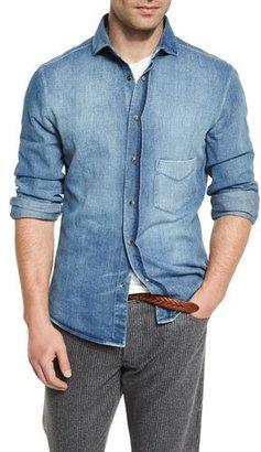 Brunello Cucinelli Light-Wash Long-Sleeve Denim Shirt $625 thestylecure.com