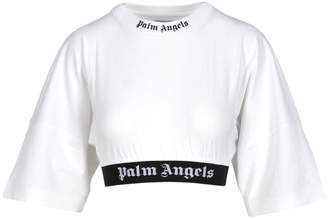 Palm Angels Cropped Logo Over Tee White Black