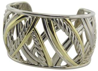 David Yurman 925 Sterling Silver and 18K Yellow Gold Wide Papyrus Cuff Bracelet