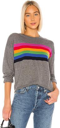Sundry Rainbow Stripe Cashmere Blend Crew Neck Pullover