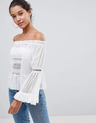 PrettyLittleThing Lace Bell Sleeve Bardot Top