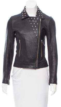 Torn By Ronny Kobo Leather Embellished Jacket