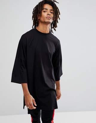 Asos DESIGN Extreme Oversized Super Longline T-Shirt With Side Splits In Black