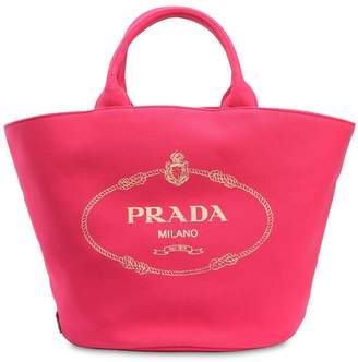 Prada Logo Printed Cotton Canvas Tote Bag